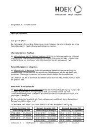 Informationen vor den Herbstferien 2009