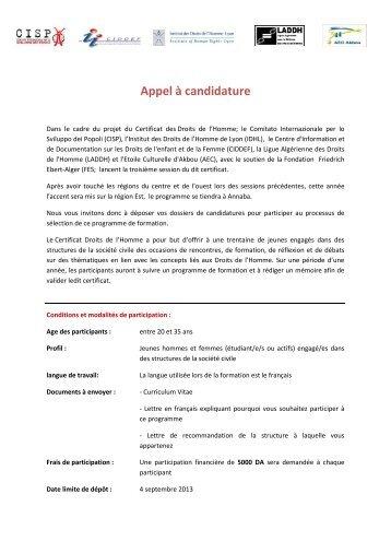 Appel à candidature - PCPA Algérie
