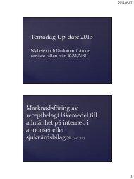 Temadag Up-date Nyheter och lärdomar från de senaste fallen från ...