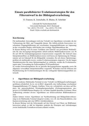 Einsatz parallelisierter Evolutionsstrategien für den Filterentwurf in ...