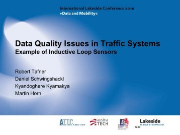 Data Quality Issues in Traffic Systems - Lakeside Conference