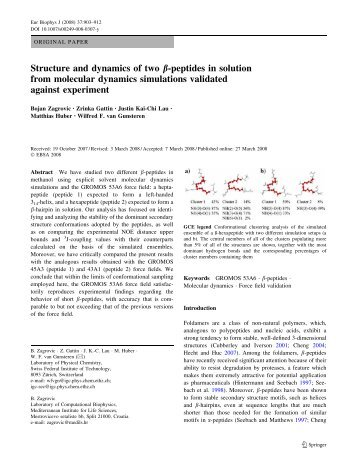 Structure and dynamics of two β-peptides in solution from molecular ...