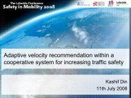 Adaptive velocity recommendation within a cooperative system for ...