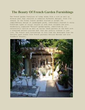 The Beauty Of French Garden Furnishings