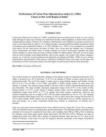 Performance of Cactus Pear [Opuntia ficus-indica (L.) Mill.] Clones in ...