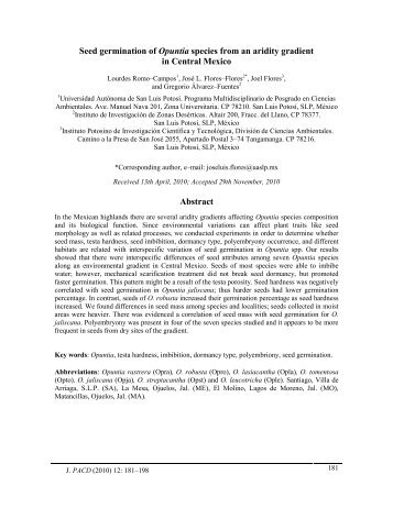 Seed germination of Opuntia species from an aridity - Journal of the ...