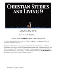 Bible 9 Course Outline - Strathcona Christian Academy Secondary