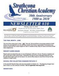 NEWSLETTER #10 - Strathcona Christian Academy Secondary