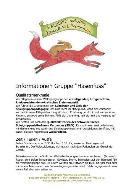 "Informationen Gruppe ""Hasenfuss"""