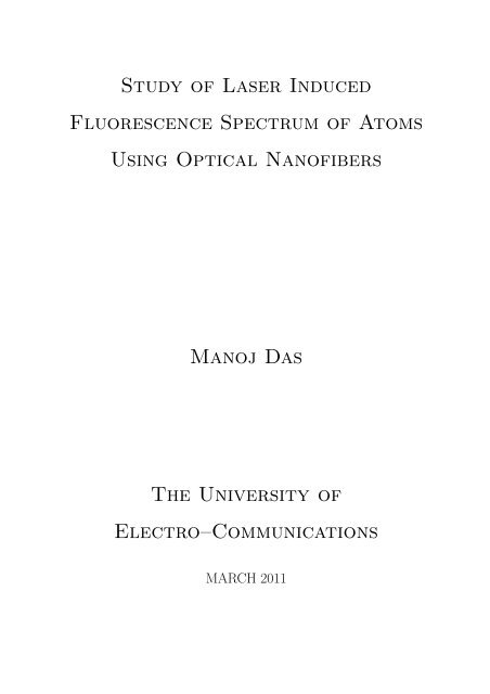 Study of Laser Induced Fluorescence Spectrum of Atoms Using ...