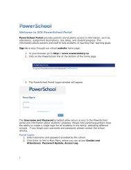 1 Welcome to SCA PowerSchool Portal