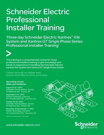 Schneider Electric Professional Installer Training - Xantrex