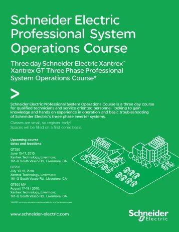 Schneider Electric Professional System Operations Course - Xantrex