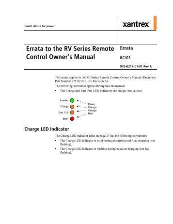 xar digital alternator regulator xantrex errata to the rv series remote control owner s manual xantrex