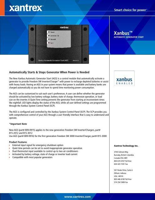 Xanbus Automatic Generator Start - Xantrex