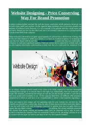 Website Designing - Price Conserving Way For Brand Promotion