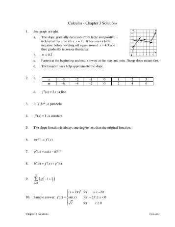 Calculus - Chapter 3 Solutions