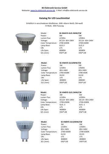 Katalog für LED Leuchtmittel - BS Elektronik Service GmbH
