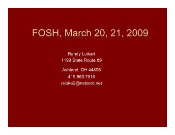 Randy Luikart's presentation: (PDF) - Sound Horse Conference