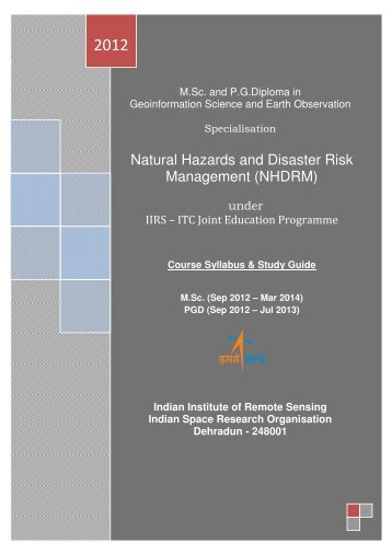 Natural Hazards and Disaster Risk Management (NHDRM)