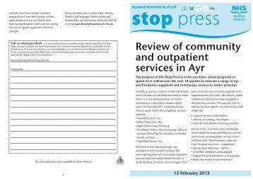 Review of community and outpatient services in Ayr - NHS Ayrshire ...
