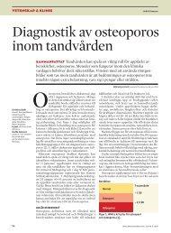 Diagnostik av osteoporos inom tandvården - Tandläkartidningen