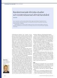 Randomiserade kliniska studier och evidensbaserad tandvård