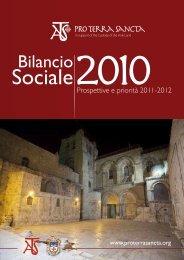 Bilancio sociale 2010 - ATS pro Terra Sancta