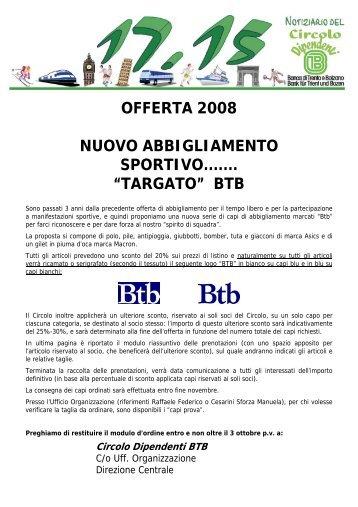 """offerta 2008 nuovo abbigliamento sportivo....... """"targato ... - Circolo BTB"""