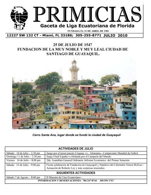 primicias 1-8 Publisher Julio 2010 - Liga Ecuatoriana de Florida