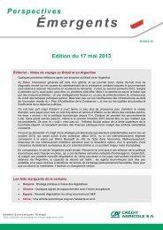 analyses - Etudes économiques du Crédit Agricole