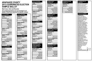 ARAPAHOE COUNTY NOVEMBER 4 2014 SAMPLE BALLOT GENERAL ELECTION