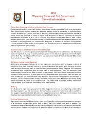 2013 Wyoming Game and Fish Department General Information
