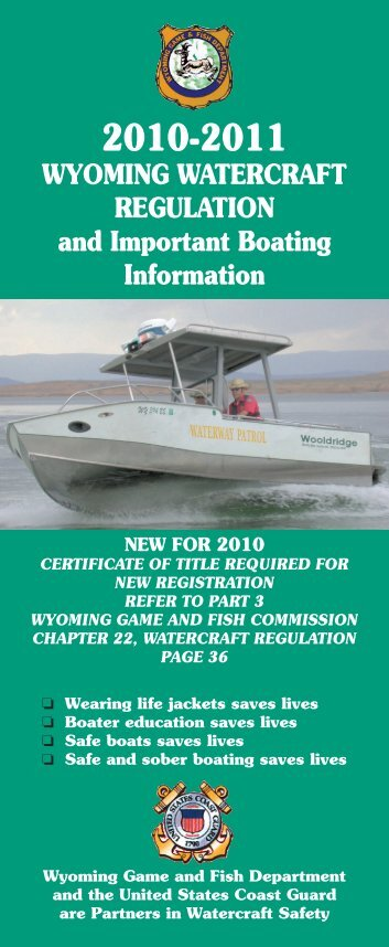 WYOMING WATERCRAFT REGULATION and Important Boating ...
