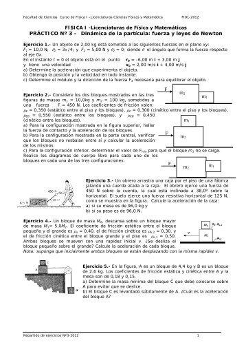Repartido de ejercicios Nº2 - curso de fisica i para las licenciaturas ...