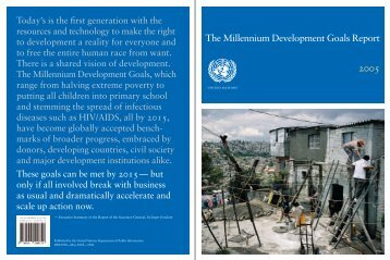 The Millennium Development Goals Report 2005