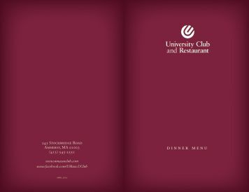 University Club Dinner Menu - University Club & Restaurant