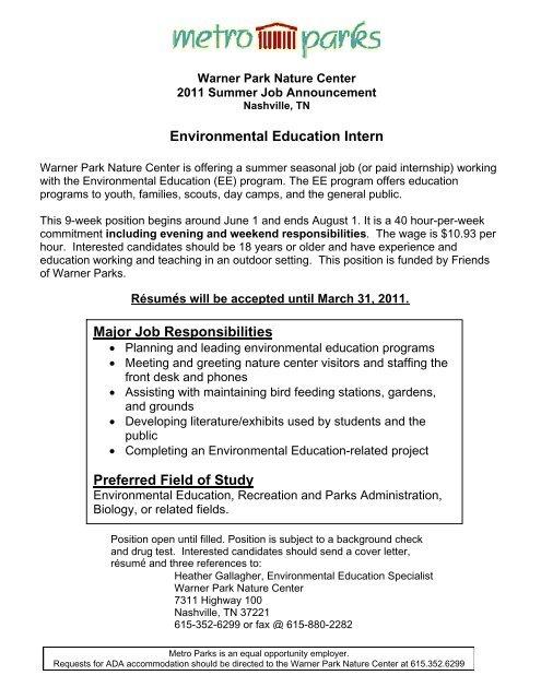Environmental Education Intern - Friends of Warner Parks