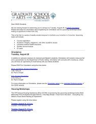 Orientation Tuesday, August 28 Housing Workshops - Graduate ...