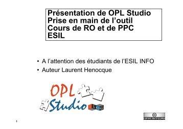 OPL Studio - Laurent Henocque
