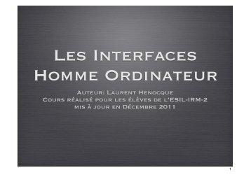 Interfaces Homme Machine Henocque Esil 2011-2012.key - Laurent ...