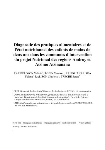 Diagnostic des pratiques alimentaires et de l'état nutritionnel ...