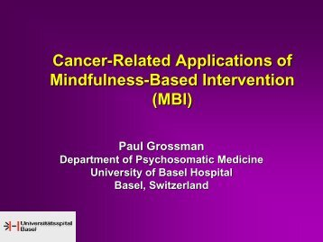 Cancer-Related Applications of Mindfulness-Based Intervention (MBI)