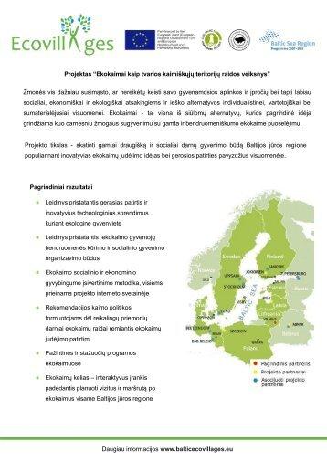 Detali informacija apie projektą - Ecovillages