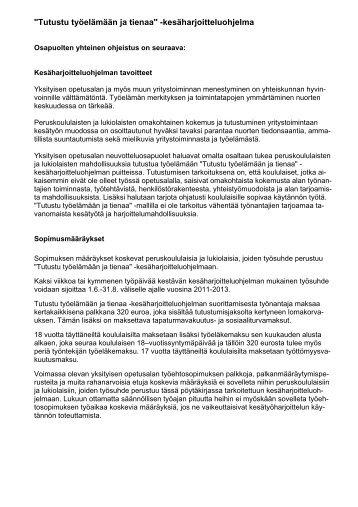 """""""Tutustu työelämään ja tienaa"""" -kesäharjoitteluohjelmaa"""