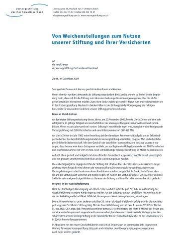 Brief: Von Weichenstellungen zum Nutzen unserer Stiftung und ihrer ...