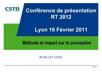 RT 2 - JR MILLET - CSTB - Méthode de calcul
