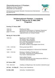 Programm des Besuchs in Potsdam vom 27.02. bis 19.03.2005