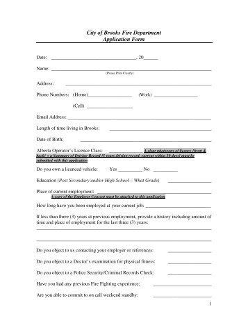city-of-brooks-fire-department-application-form Volunteer Fire Department Application Forms on volunteer library application, volunteer fire company, fire department job application, volunteer fire recruit,