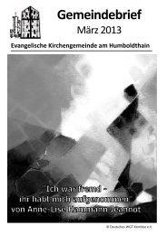 Gemeindebrief März 2013 - Ev. Kirchengemeinde am Humboldthain